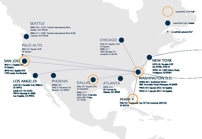 Carte du réseau États-Unis